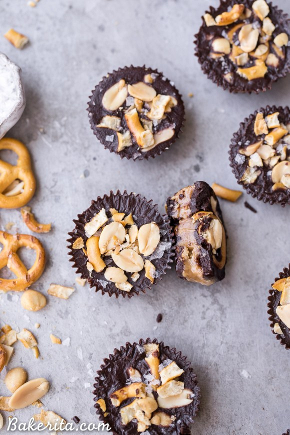 These Chocolate Pretzel Peanut Butter Cups are inspired by the Take 5 candy bar, but made with way more wholesome ingredients! These gluten-free, refined sugar-free and vegan candy cups are filled with peanut butter caramel, with pretzels and peanuts for crunch.
