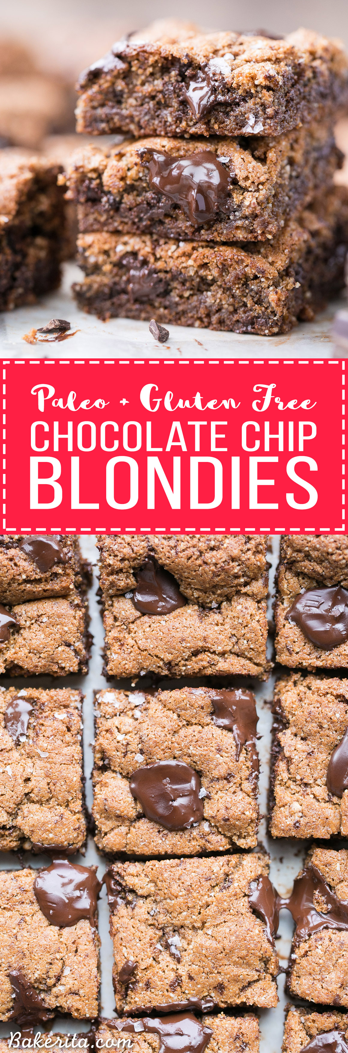 These Paleo Chocolate Chip Blondies have amazing crispy edges, a soft, chewy center and tons of dark, melted chocolate chunks! You'll go crazy for these paleo, gluten-free and refined sugar free blondies.
