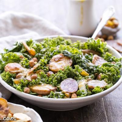 Kale & Salami Salad with Roasted Garlic Vinaigrette (Gluten Free + Dairy Free)