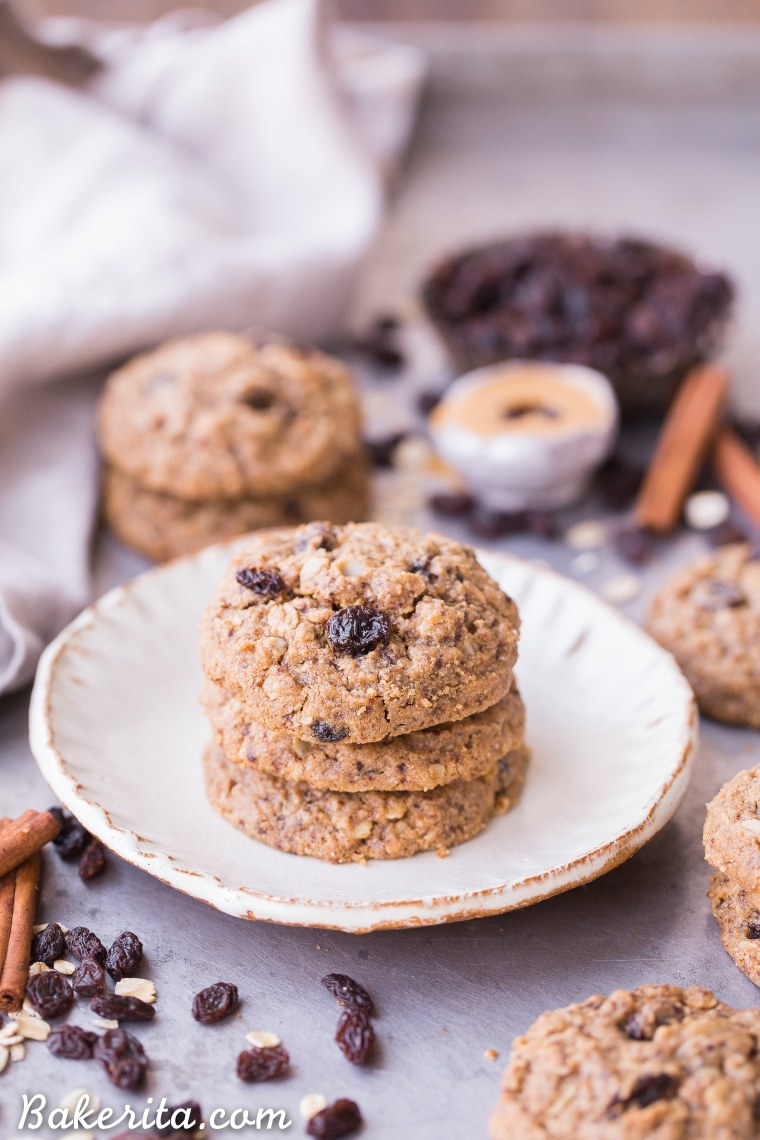 These Peanut Butter Oatmeal Raisin Cookies are the best oatmeal raisin cookies I've ever had! They're incredibly soft and chewy, with crispy edges and MAJOR peanut butter flavor. You won't believe they're gluten-free, refined sugar-free and vegan.