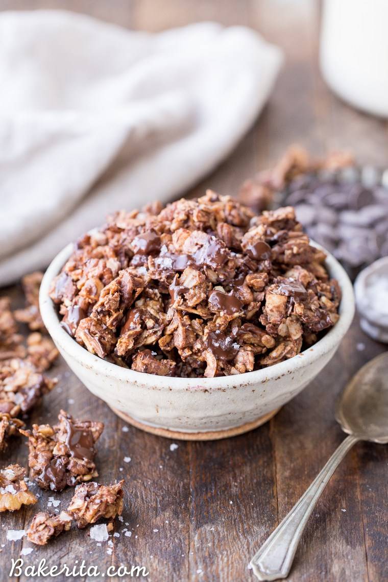 This Chunky Chocolate Grain-Free Granola is an easy and delicious breakfast or it can be eaten by the handful as a fueling snack. You certainly won't miss the grains in this gluten-free, refined sugar-free, and paleo granola.