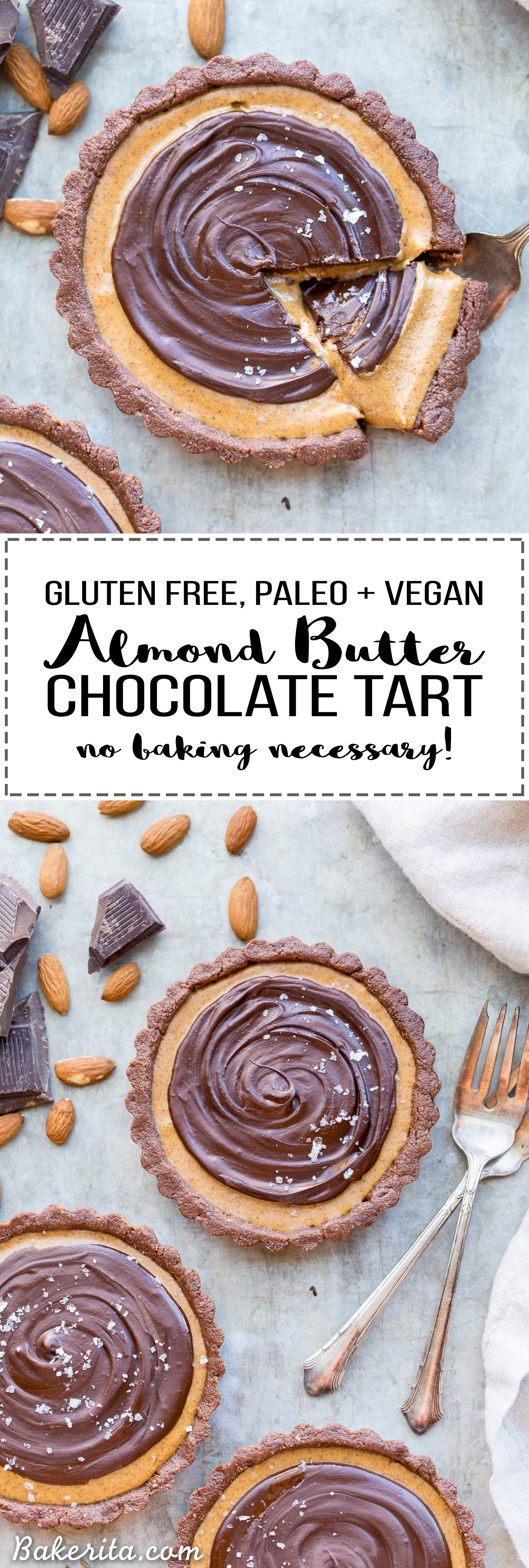 This No Bake Chocolate Almond Butter Tart tastes like a giant almond butter cup! There's no baking required and it's gluten-free, paleo, and vegan. You'll adore this melt in your mouth tart.
