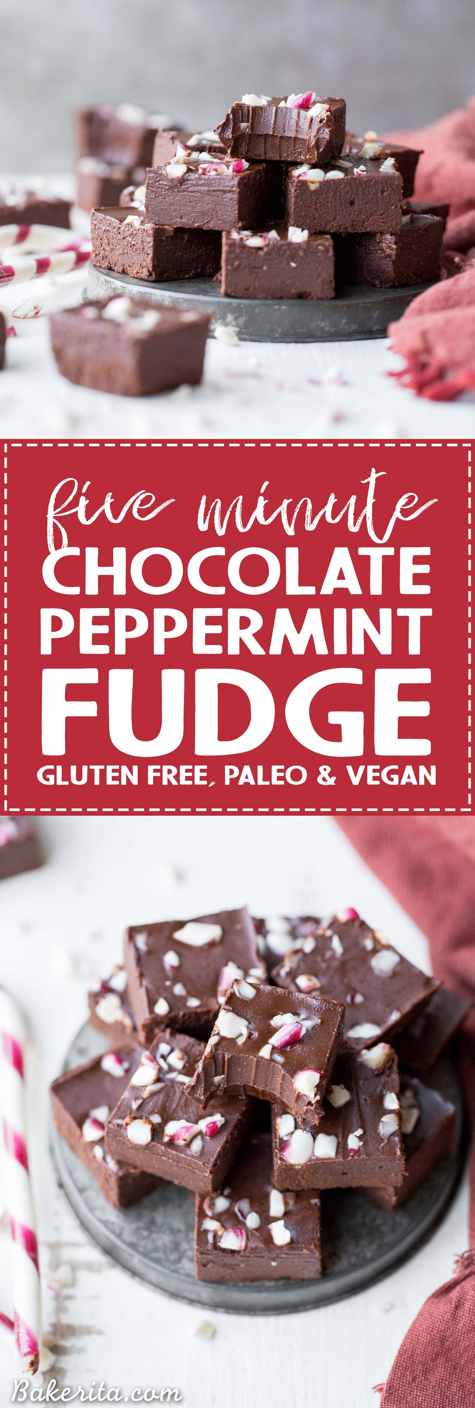 This Easy Chocolate Peppermint Fudge is the perfect, super simple holiday dessert. It's made in just five minutes with only five ingredients, and it's gluten-free, paleo, dairy-free, and vegan. This rich, super chocolatey fudge will melt in your mouth!