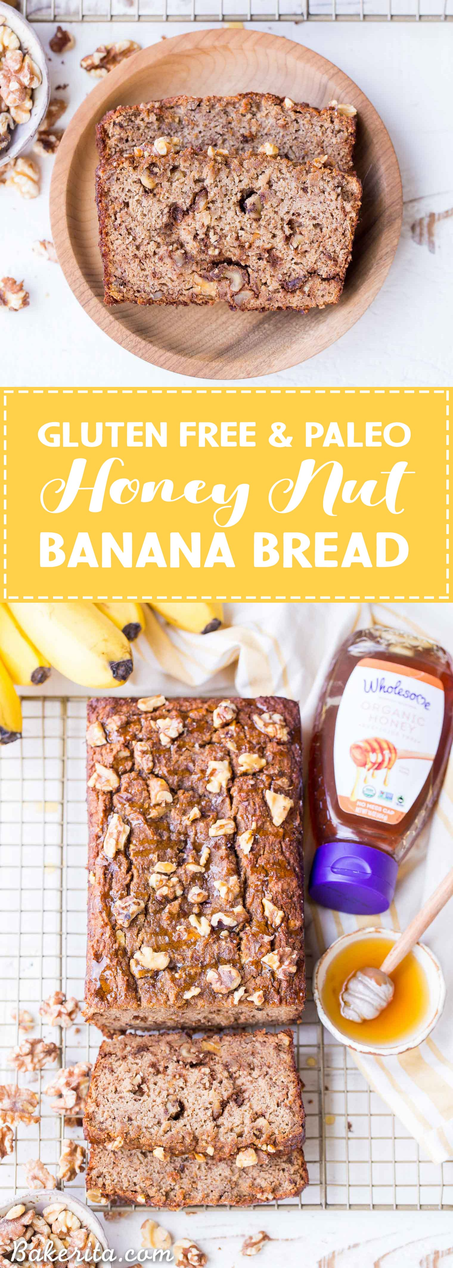 This Paleo Honey Nut Banana Bread is a deliciously healthy breakfast or snack that will help keep you satiatedfor hours. It's a lightly honey-sweetened treat that's gluten-free and grain-free and packed with crunchy walnuts.