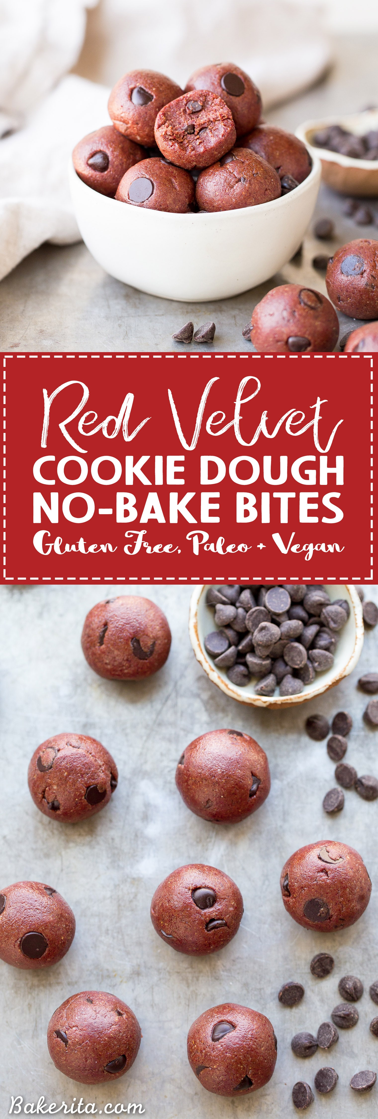 These Red Velvet Cookie Dough Bites are the perfect quick & easy snack or dessert! These gluten-free, paleo and vegan cookie dough bites are naturally tinted with a healthy superfood beet powder.