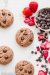 These Flourless Strawberry ChocolateChip Cookies are thick and super rich, with a fruity strawberry flavor and melty chocolate chips. They're gluten-free, paleo, and vegan, and made with just six ingredients!