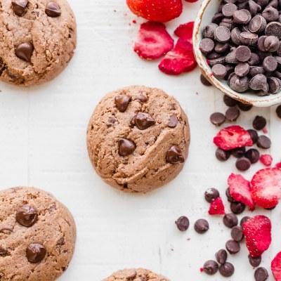 Flourless Strawberry Chocolate Chip Cookies (Gluten Free, Paleo + Vegan)