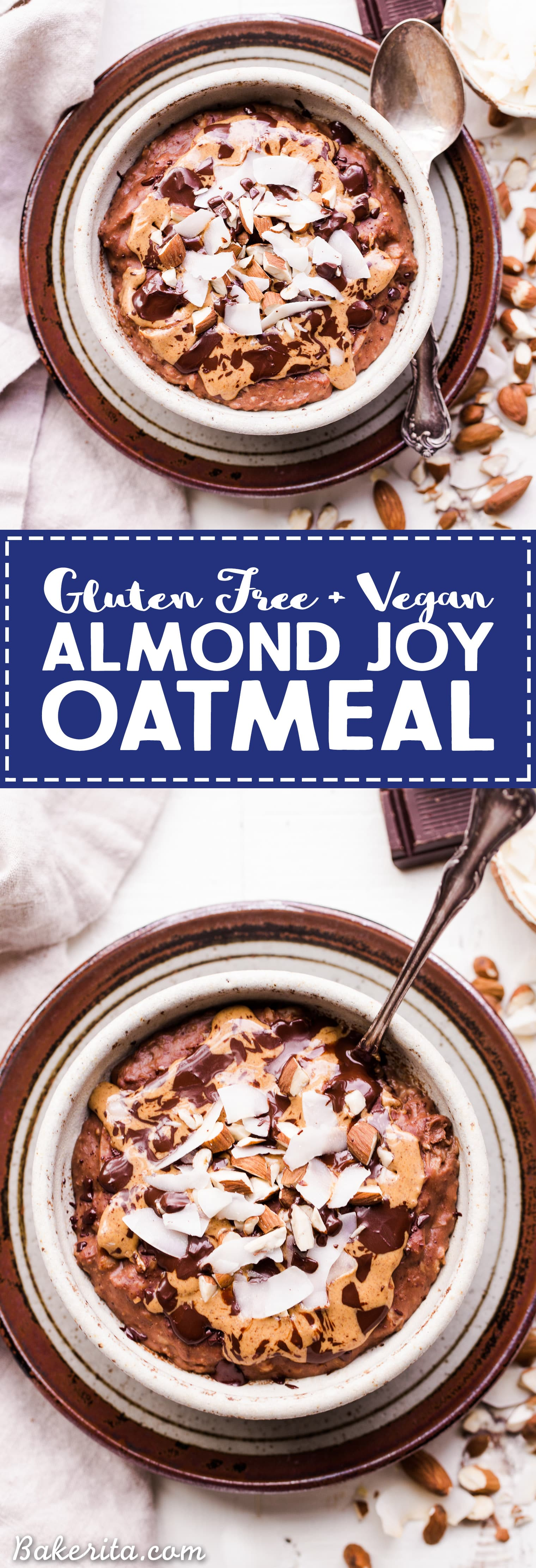 This Almond Joy Oatmeal is a creamy chocolate oatmeal that's sweetened with just a ripe banana and topped with coconut, almonds, and more chocolate! This hearty breakfast is decadent, filling, and you can enjoy it guilt free - unlike its candy bar equivalent!