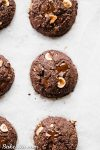 These Double Chocolate Hazelnut Cookies are soft, fudgy, and incredibly chocolatey! These irresistiblecookies are loaded with melty dark chocolate chunks and crunchy hazelnuts, and you'd never guess they're gluten-free, paleo, and vegan.