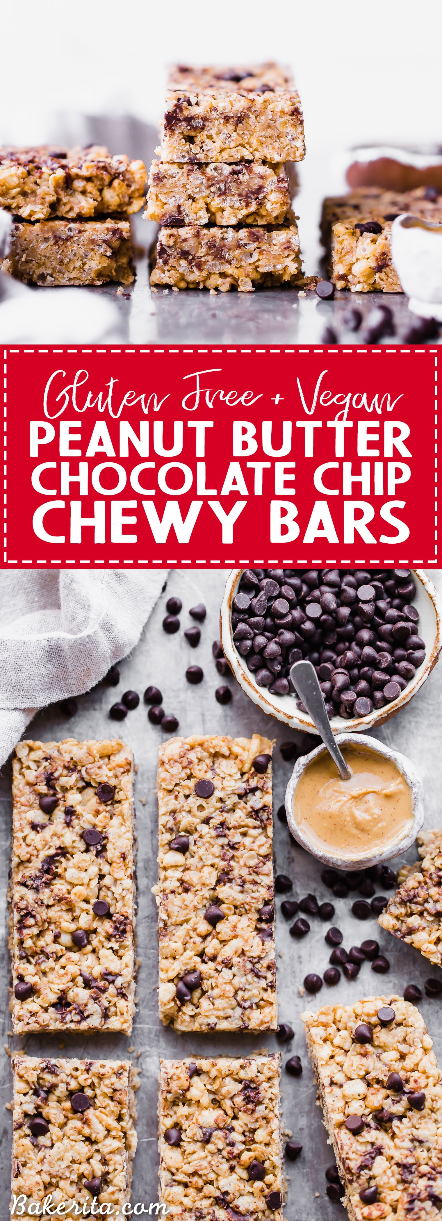 These Peanut Butter Chocolate Chip Chewy Bars will bring you right back to your favorite childhood snack! This homemade, no-bake version is way more delicious with a short and simple ingredients list. They're gluten-free and vegan, too!