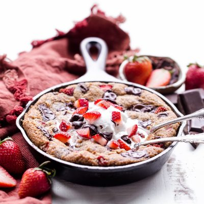 Strawberry Chocolate Chunk Skillet Cookie (Gluten Free, Paleo + Vegan)