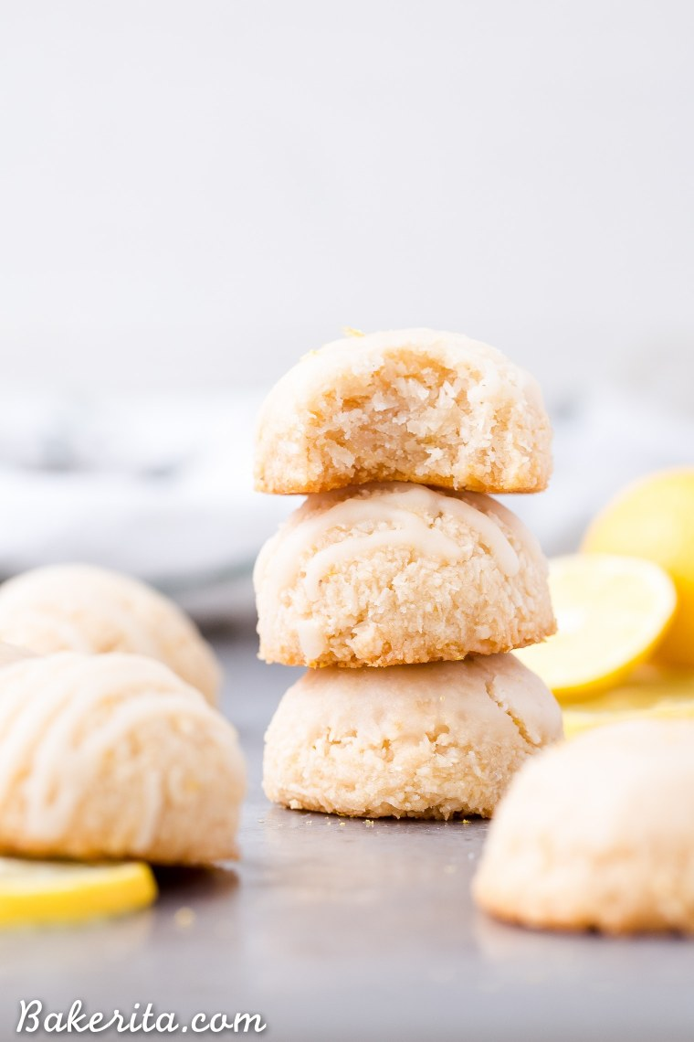 These Lemon Macaroons are bright with lemon flavor, with a touch of maple sweetness and a deliciously chewy texture. The tart lemon glaze is made with coconut butter. You're going to love these irresistibly scrumptious gluten-free, paleo, and vegan macaroons.