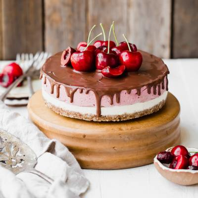 No Bake Cherry Cheesecake with Dark Chocolate Ganache (Gluten Free, Paleo + Vegan)