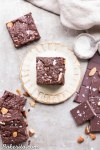 You'd never guess these super fudgy Salted Almond Brownies are gluten-free, paleo and vegan, because they taste just as good as a traditional brownie! They're incredibly fudgy and chocolatey and the toasted almonds and sea salt make them even better.