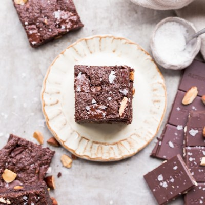 Salted Almond Brownies (Gluten Free, Paleo + Vegan)