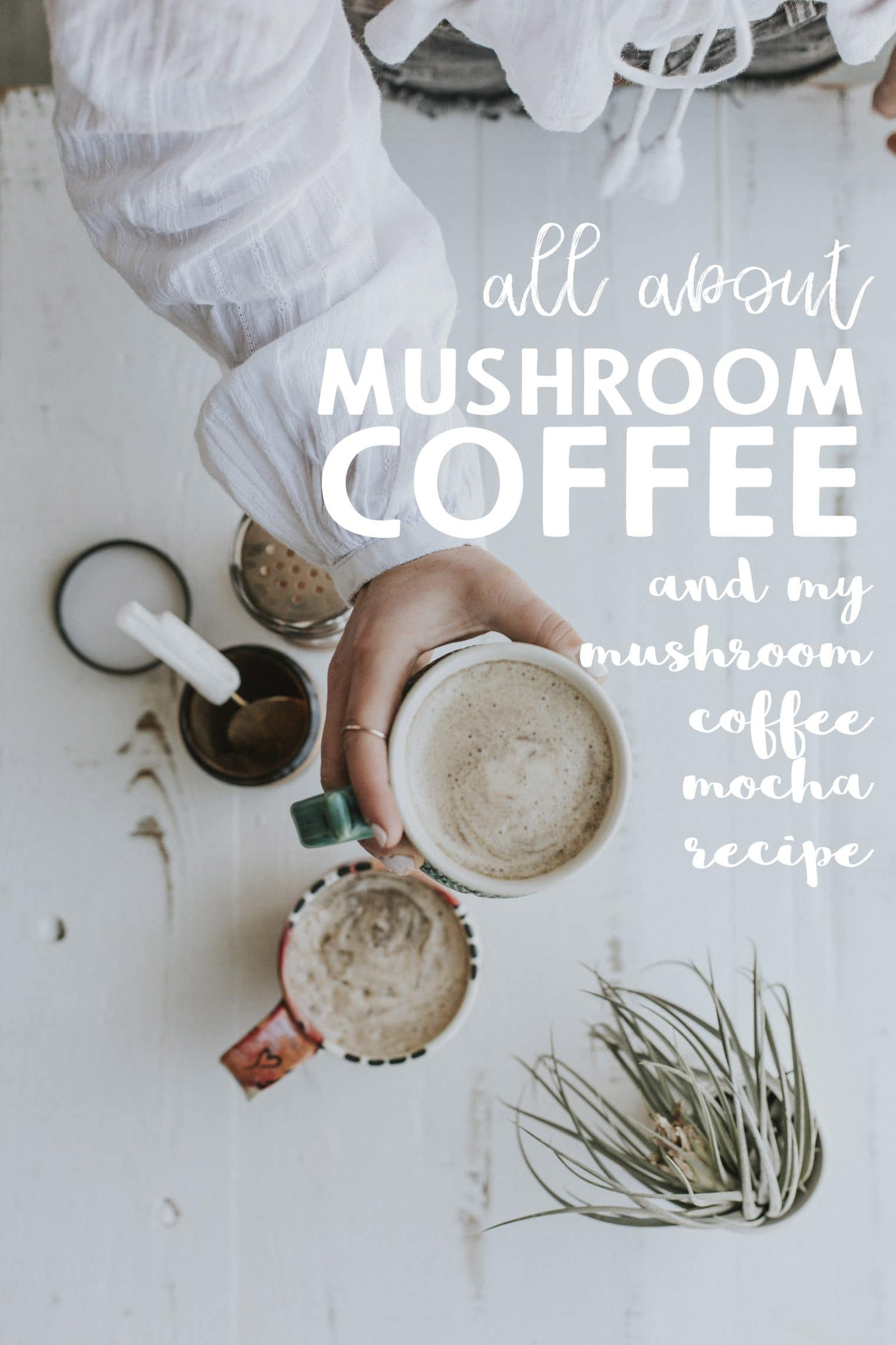 All About Mushroom Coffee + My Mushroom Coffee Mocha Recipe! This post will answer all of your questions about my mushroom coffee drink. It's energizing, filling, andso delicious.