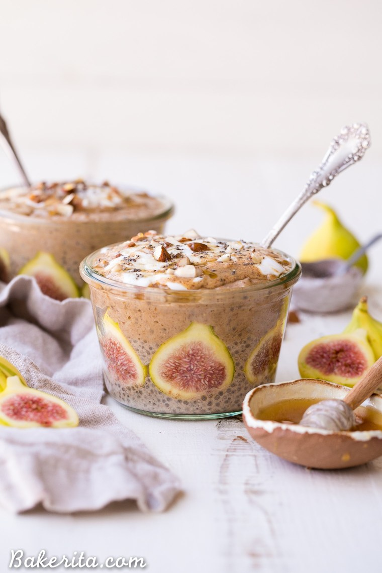 These Cinnamon Fig Chia Pudding & Overnight Oat Breakfast Parfaits are a delicious make-ahead breakfast that you'll love to have ready to go in your freezer! The fresh figs are such a scrumptious and beautiful treat in this gluten-free, refined sugar-free, and vegan breakfast.