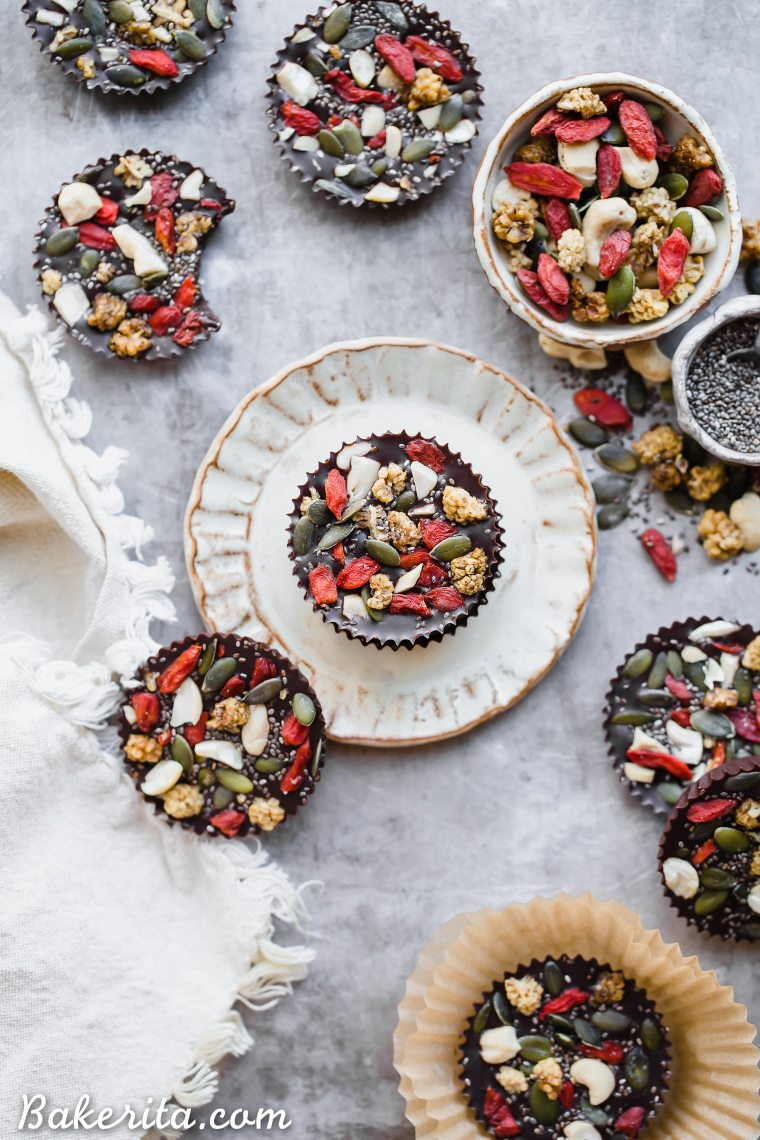 These Superfood Cacao Fudge Bites are creamy, so rich in cacao flavor, and topped with all sorts of delicious superfoods, like cashews, goji berries, chia seeds, and more. They'll satisfy yourcandy craving and they're gluten-free, paleo, and vegan!