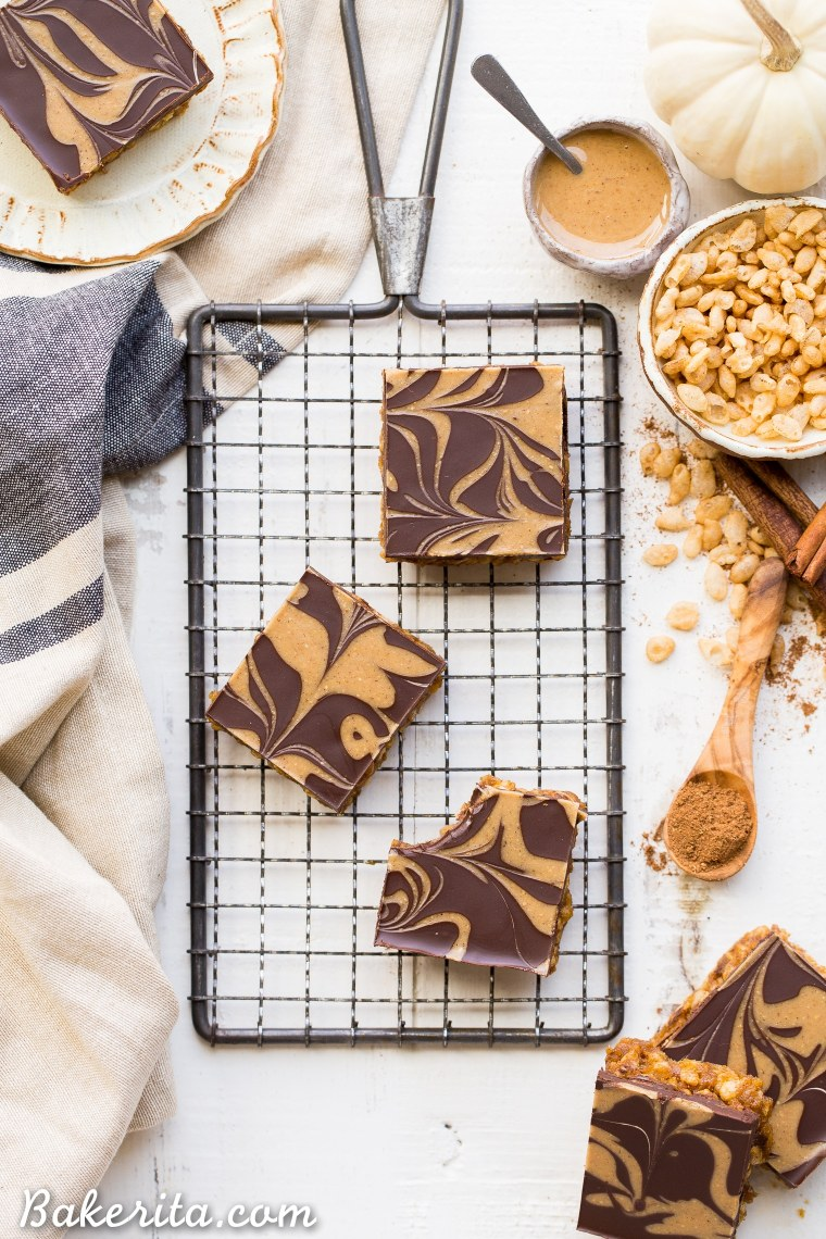 These ChocolatePumpkin Spice Crispy Bars have a pumpkin spice rice crispy base, topped with a layer of dark chocolate and a pumpkin spice swirl. These bars are easy to make, beautiful, delicious, and gluten-free + vegan!