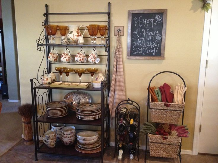 creatively decorate a bakers rack