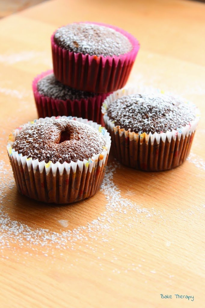 Muffin al cioccolato e lamponi senza lattosio. Foto 1/3