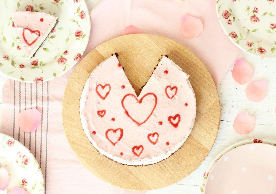 Cheesecake senza cottura di San Valentino