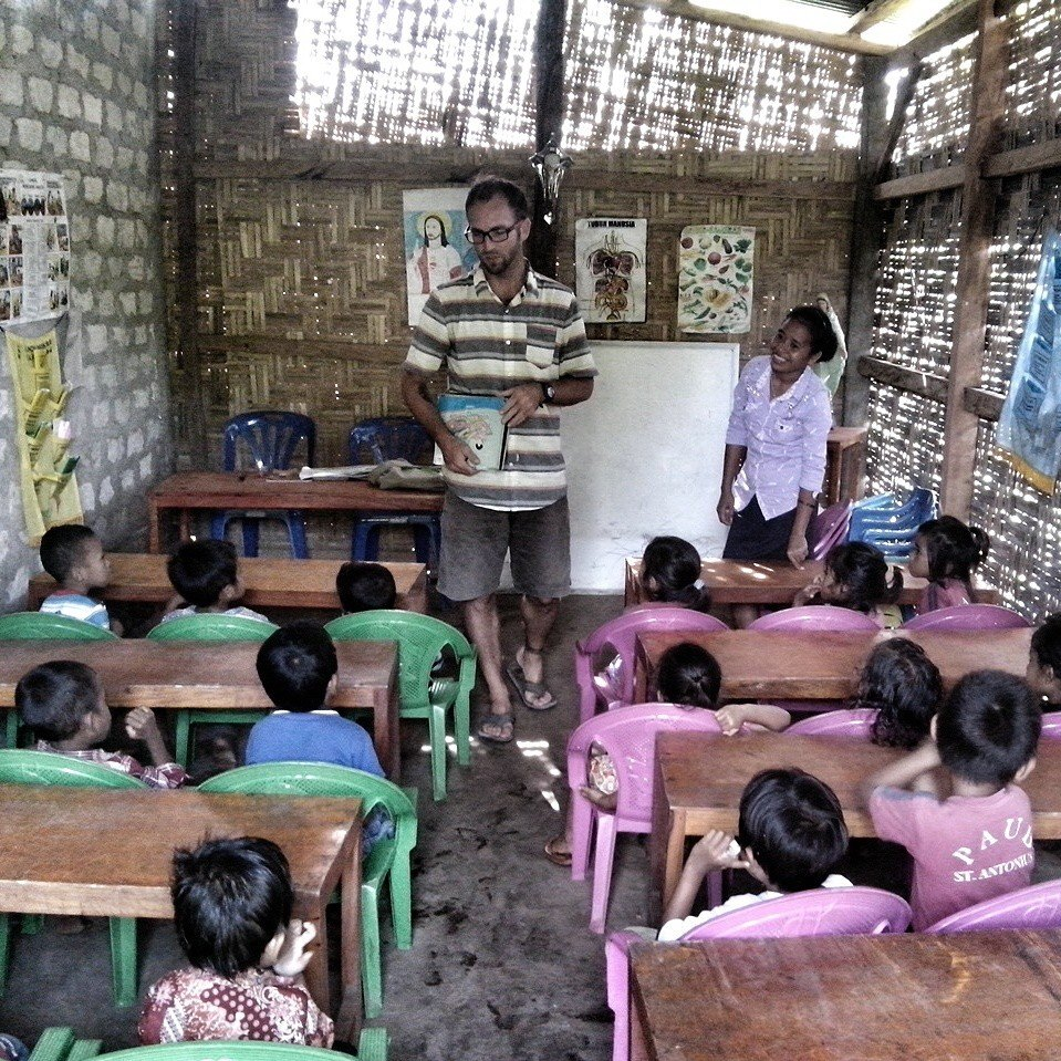 Peter Axelsen teaching on the island of Sumba by Baki Clothing Company