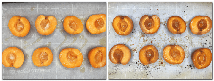 Photo 1: Apricots sprinkled with sugar and olive oil on the parchment paper Photo 2: Roasted apricots on parchment