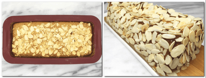 Photo 9: Baked cake in a pan Photo 10: Cake covered with flaked almonds