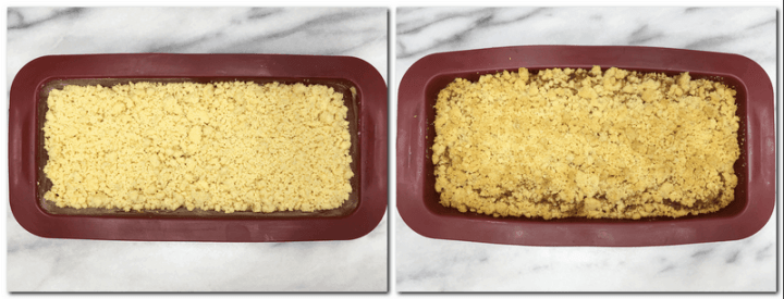 Photo 7: Cake batter with streusel on top in a loaf cake pan Photo 8: Baked bread in a cake pan