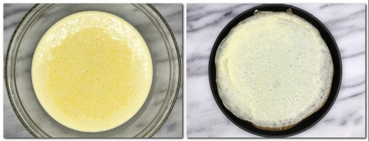 Photo 3: Ready crepe batter in a glass bowl Photo 4: Batter distributed in a pan