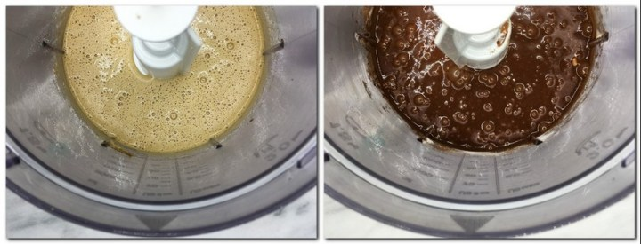 Photo 3: Brown sugar/eggs mixture in the bowl of a stand mixer Photo 4: Ready brownie preparation in the bowl of a stand mixer