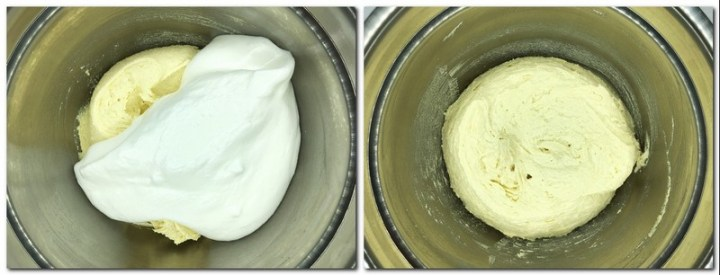 Photo 3: Beaten egg whites with the cake batter in a bowl; Photo 4: Ready cake batter in a bowl