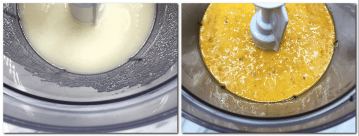 Photo 1: Sunflower oil/sugar mixture in the bowl of a stand mixer Photo 2: Cake batter mixture with added grated carrots in the bowl of a stand mixer