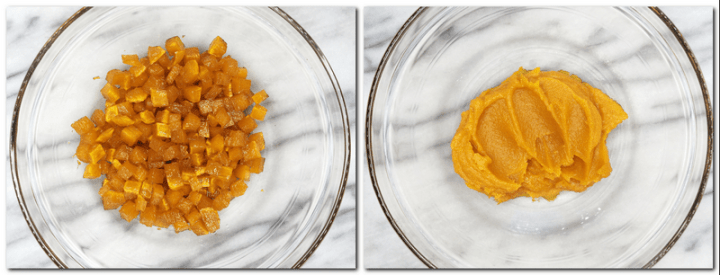 Photo 3: Cooked small pumpkin cubes in a glass bowl Photo 4: Pumpkin filling in a glass bowl