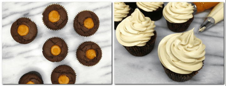 Photo 11: Cupcakes filled with the pumpkin filling: Bird view Photo 12: Cupcakes pipped with the cream cheese icing