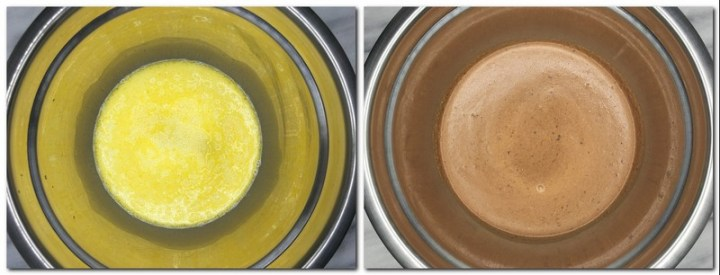 Photo 1: Milk/eggs/beer and butter mixture in a bowl Photo 2: Ready batter in a bowl