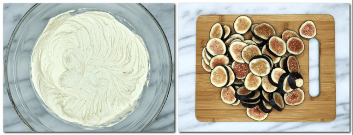 Photo 7: Ready Praline cream in a glass bowl Photo 8: Slices of figs on a cutting board