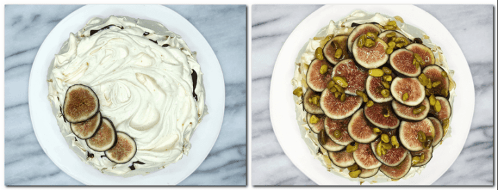 Photo 9: Meringue nest topped with cream and four slices of figs  Photo 10: Decorated Cinnamon Pavlova on a white platter