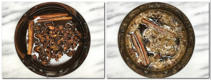 Photo 1: Star anise, cinnamon sticks and honey/sugar water in a saucepan Photo 2: Infused ready syrup in a saucepan