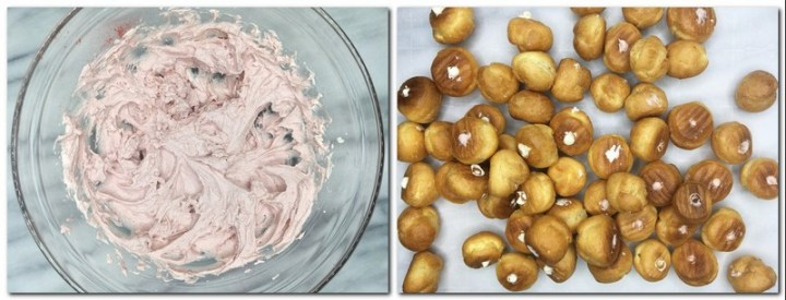 Photo 9: Pink colored Chantilly cream in a glass bowl Photo 10: Choux puffs filled with cream on parchment paper