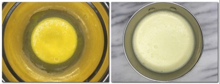Photo 1: Egg yolks/sugar mixture in a bowl Photo 2: Ready vanilla custard in a saucepan