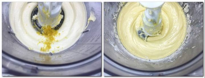Photo 1: Whipped butter/icing sugar mixture with lemon zest in the bowl of a stand mixer Photo 2: Batter preparation in the bowl of a stand mixer
