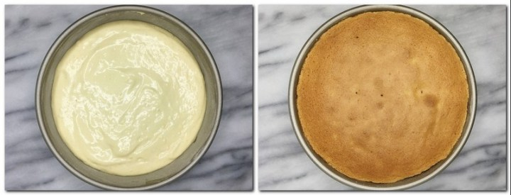 Photo 5: Batter in a cake pan Photo 6: Baked sponge cake in a pan