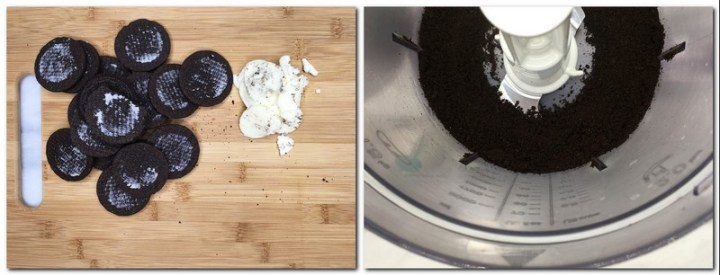 Photo 1: Oreo cookie haves and cream on a wooden board Photo 2: Oreo cookie crumbs in the bowl of a food processor