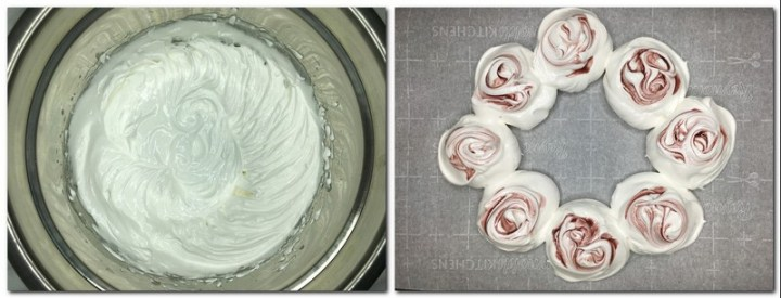 Photo 1: Ready meringue in a bowl Photo 2: Meringue balls in a shape of wreath on the parchment