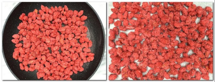 Photo 8: Ready Pink Praline in a pan Photo 9: Ready Pink Praline/candied Almonds on the parchment