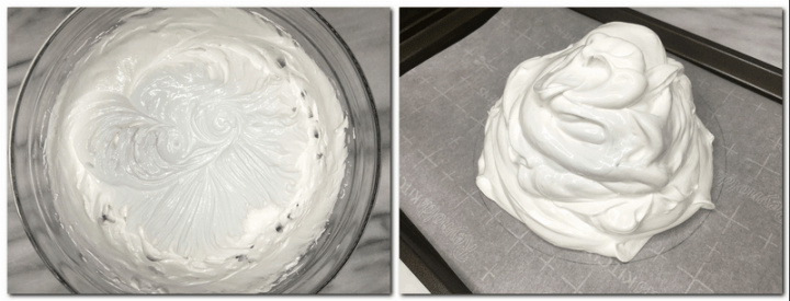 Photo 1: Meringue mixture in a glass bowl Photo 2: Meringue scooped on the parchment paper