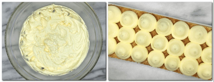 Photo 7: Whisked vanilla cream in a glass bowl Photo 8: Pipped cream balls on top of the puff pastry
