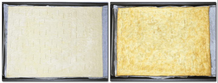 Photo 3: Prick puff pastry on the parchment paper Photo 4: Baked puff pastry on the parchment